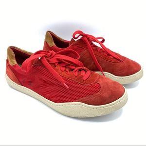 Acne Studios Mens Lars Mesh Red Suede Sneakers